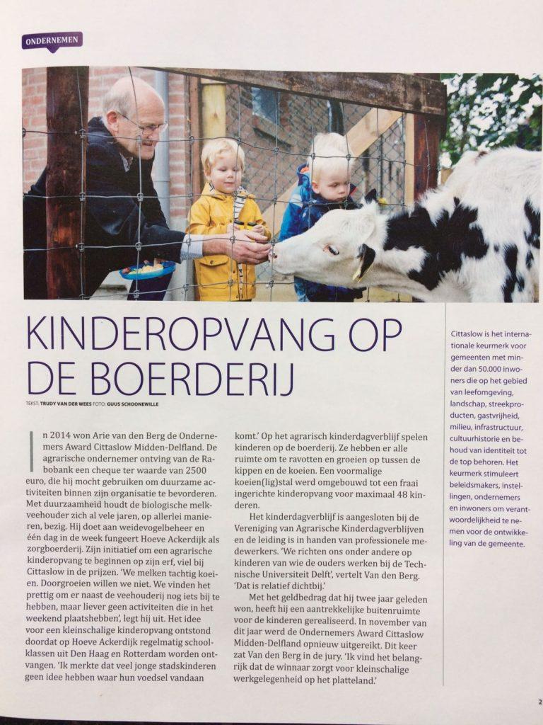 Kinderopvang op de boerderij artikel Rabobank Magazine